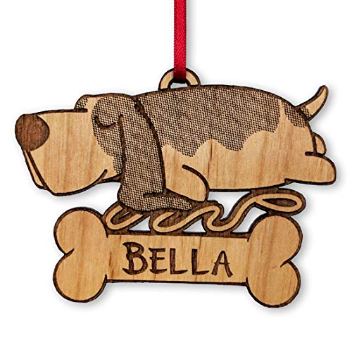 Hound Tree Christmas Ornament - Basset Hound Custom Dog Ornament for Christmas Tree Kids First Pet Personalized Rustic Wood Gift Birthday Present for Puppy Engraved Rescue Announcement Trinket