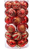 """Sea Team 60mm/2.36"""" Decorative Shatterproof Painting & Glitering Designs Christmas Ball Ornaments Set, 30-Pack, Red"""
