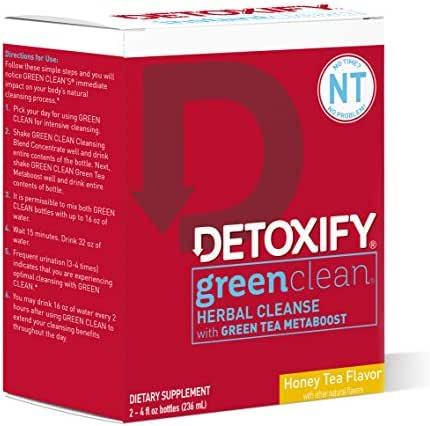 Detoxify Green Clean Herbal Cleanse - Honey Tea Flavor– (2) x 4oz bottles   Professionally Formulated Professionally Herbal Detox Drink   Enhanced with Burdock Root Extract & Green Tea Metaboost