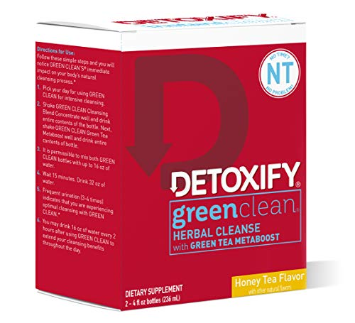 Green Clean - Detoxify Green Clean Herbal Cleanse - Honey Tea Flavor- (2) x 4oz bottles | Professionally Formulated Professionally Herbal Detox Drink | Enhanced with Burdock Root Extract & Green Tea Metaboost