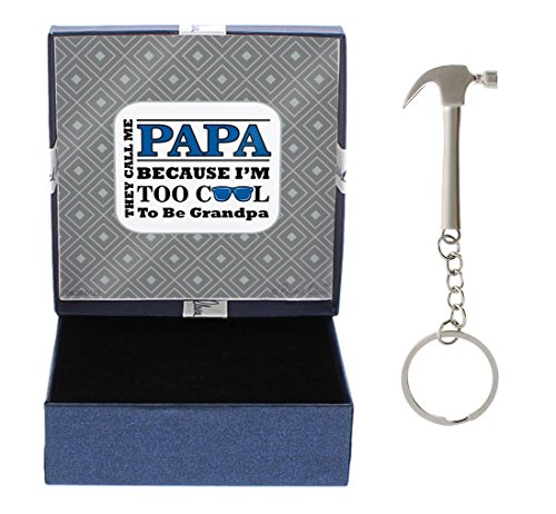 for Papa They Call me Papa Because I'm Too Cool to Be Grandpa Gift for Papa Hammer Keychain & Gift Box Bundle