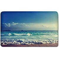 Memory Foam Bath Mat,Ocean,Tropical Island Paradise Beach at Sunset Time with Waves and the Misty Sea Image DecorativePlush Wanderlust Bathroom Decor Mat Rug Carpet with Anti-Slip Backing,Cream Turqu