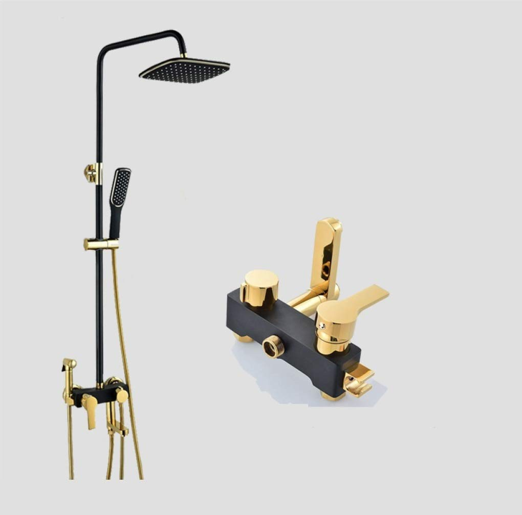 B LyMei Shower System, Black gold - Copper - Shower Set - Handheld Shower-Modern Rainfall Shower Sets for Bathroom-Wall Mounted Rainfall Shower Head Systems,A