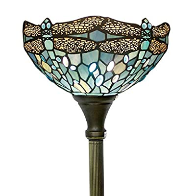 Tiffany Style Torchiere Light Floor Standing Lamp Wide 12 Inch Tall 66 Inch Sea Blue Stained Glass Crystal Bead Dragonfly for Living Room