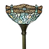 Tiffany Style Torchiere Light Floor Standing Lamp Wide 12 Tall 66 Inch Sea Blue Stained Glass Crystal Bead Dragonfly Lampshade for Living Room Bedroom Antique Table Set S147 WERFACTORY