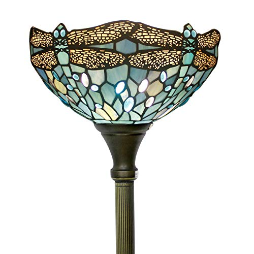 Tiffany Style Torchiere Light Floor Standing Lamp Wide 12 Tall 66 Inch Sea Blue Stained Glass Crystal Bead Dragonfly Lampshade for Living Room Bedroom Antique Table Set S147