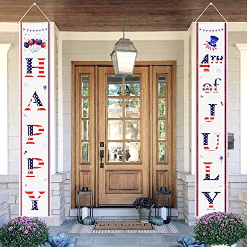 AOSTAR 4th of July Porch Sign - Happy & 4th of July Hanging Banner Set Patriotic Porch Sign for Outdoor/Indoor Home Front Door Wall Independence Day Decor Supplies ()
