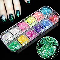 Shoppy Star:Born Queen Nail Art Decoration Nail Glitter 12 Candy Color Mixed Ice Mylar Shell Foils Flakes 3D Manicure Nails Tips Decorations