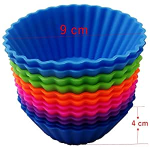 The Trusty Baker- 12 Pk JUMBO Silicone Reusable Baking Cups - Cupcake Liners- Muffin Liners-NON BPA