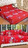 STOP N SHOP FLORAL PRINTED DOUBLE BEDSHEET (3 PCS) & DIVAN SET(8PCS) COMBO RED COLOR