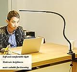 Wsxxn Clip-on clip eye protection desk lamp children's study office work plug table lamp 12WLED desk light 360 ° bend no dead ends light touch switch (Tuning light adjust color) (Color : Black)