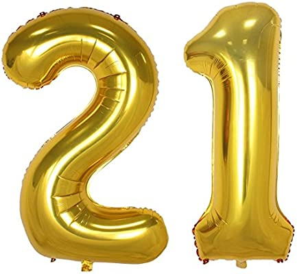 Changzhong 40 Inch Gold Large Number Balloons Mylar Foil Big Number 21 Giant Balloon 21st Birthday Party Decoration