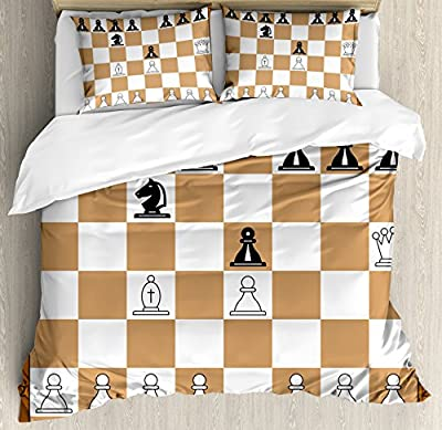 Board Game Duvet Cover Set by Ambesonne, Opening Position on Chessboard Letters Numbers Squares Pieces Print, Decorative Bedding Set with Pillow Shams, Brown Light Brown Black
