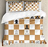 Board Game Duvet Cover Set Queen Size by Ambesonne, Opening Position on Chessboard Letters Numbers Squares Pieces Print, Decorative 3 Piece Bedding Set with 2 Pillow Shams, Brown Light Brown Black