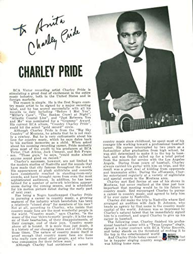 Charley Pride Signed Autographed 8x11 Magazine Photograph Beckett BAS
