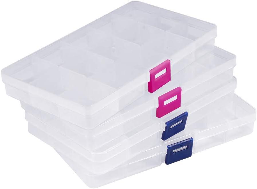 Opret 4 Pack Caja de Almacenamiento Transparente Caja Compartimentos de Plástico (15 Compartimentos) con Separadores Ajustables Organizador de Joyería Contenedor de Herramientas