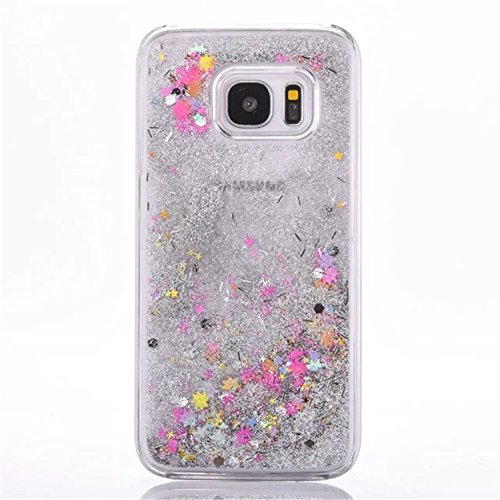 Galaxy S7 Liquid Case,New Sparkle Stars Creative Design Flowing Liquid Floating Luxury Bling Glitter Transparent Plastic Case for Samsung Galaxy S7 (Colorful)