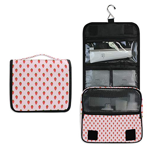 Martini Handle Kit - Toiletry Bag Strawberry Pattern Hanging Travel Toiletry Organizer Kit with Hook and Handle Waterproof Makeup Cosmetic Bag for Men or Women