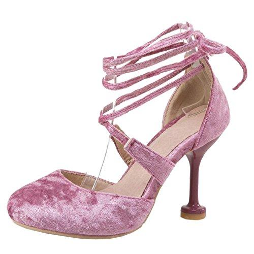 Sandales Pink Mode Femmes Lacets Talons RAZAMAZA qO6zBwx8
