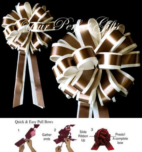 BROWN IVORY WEDDING 8'' PULL PEW BOWS BRIDAL SHOWER