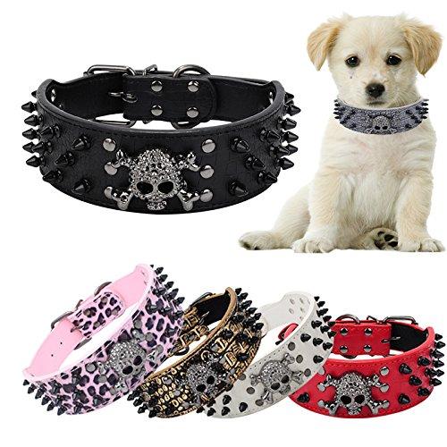 Glumes Pet Collar, Rivet Pet Collar Cat Dog Collar Safe Buckle Adjustable Strap for Dogs Cats Small Pets -