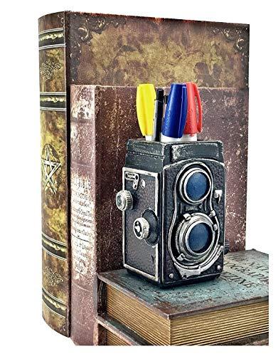 Bellaa 21390 Camera Pencil Holder Retro Pen Desk Organizer Unique Gift 5 inch