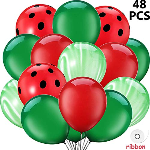 Party Balloons, 48Pcs Watermelon Inspired Latex Balloons, One in A Melon Themed Decorations Watermelon Balloons for Baby Shower, Wedding, 1st Birthday Party Decoration (Watermelon Inflate)