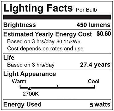 LE G25 E26 LED Bulbs, 40W Incandescent Equivalent, 2700K Warm White, 5W 450lm Energy Saving Light, Non-Dimmable, 200 Degree Beam Angle for Home, Living Room, Kitchen and More, Pack of 6