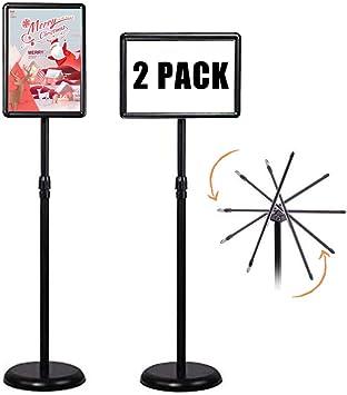 A3 Stainless Steel Adjustable Pedestal Sign Holder Display Floor Stand Black