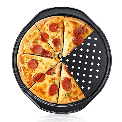 Pizza Pan with holes, Beasea 12 Inch Non Stick Carbon Steel Pizza Crisper Pan Pizza Baking Tray Bakeware Tool with Handles