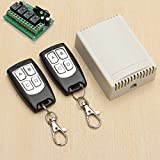 Paddsun 315Mhz Wireless RF Switch DC 12V 4CH Channel Wireless Remote Control Switch, DC12V Relay Receiver Module, Transmitter Toggle Switch RF Relay (2 Transmitter + 1 Receiver)