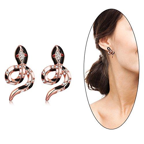 e Gold Plated Color Czech Drill Snake Earrings Fancy Stud Earrings (Rose Gold Snake) ()