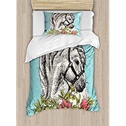 Ambesonne Floral Duvet Cover Set Twin Size, Boho Style Horse Opium Blossoms Poppy Wreath Equestrian Illustration, Decorative 2 Piece Bedding Set with 1 Pillow Sham, Turquoise Apple Green