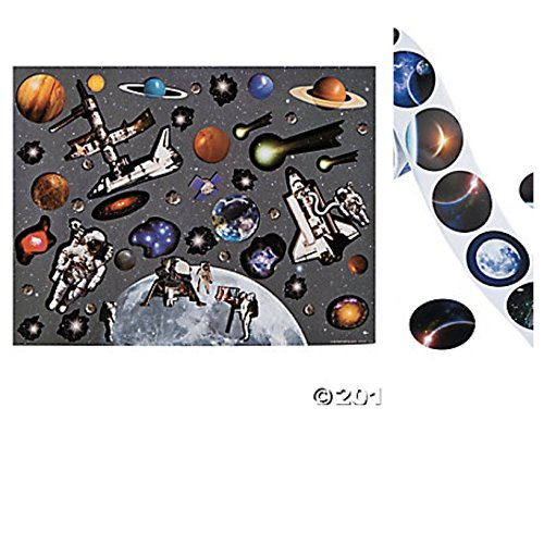 12 Large MAKE a SPACE Station Sticker Sheets and 24 BONUS Planet MOON Stickers - KID'S Arts & Crafts CLASSROOM (Space Activities For Kids)