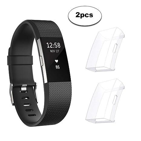 Sun studio Protector Fitbit Charge 2, TPU Accesorio Funda Protector de Pantalla Shell para Fitbit Charge 2 Unisex Fitness Smartwatch (Transparente + ...