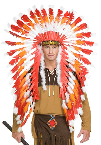 Red, White & Orange American Indian Headdress with (Indian Costumes With Headdress)