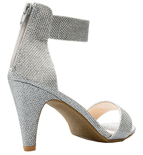 Ankle High K Sandal Mesh Women's Heel Toe Silver OLIVIA Strap Open fRqYwFfZ