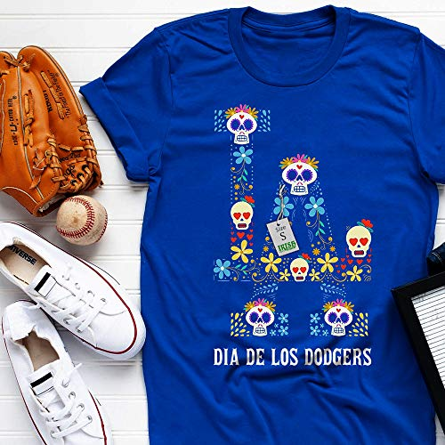 Dia De Los Dodger-Sugar-Skull Day Of Dead Mexican Halloween Customized T-Shirt Hoodie/Long Sleeve/Tank Top/Sweatshirt (Day Of The Dead Long Sleeve T Shirts)