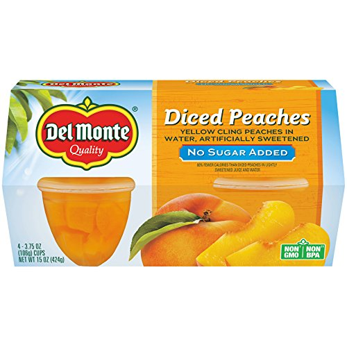 Del Monte Yellow Cling Peaches, No Sugar Added, Fruit Cup, 3.75-Ounce, 4-Pack