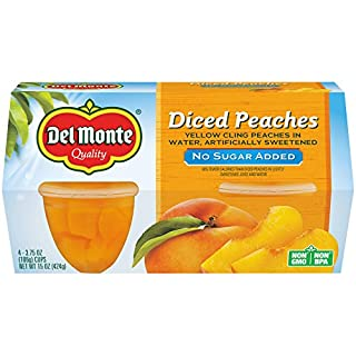 Del Monte Yellow Cling Peaches, No Sugar Added, Fruit Cup, 3.75-Ounce, 4-Count (Pack of 6)