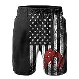 ZQ-SOUTH ZrGo Men's Wrestling Wrestler USA Flag Quick-Dry Summer Beach Surfing Board Shorts Swim Trunks Cargo Shorts