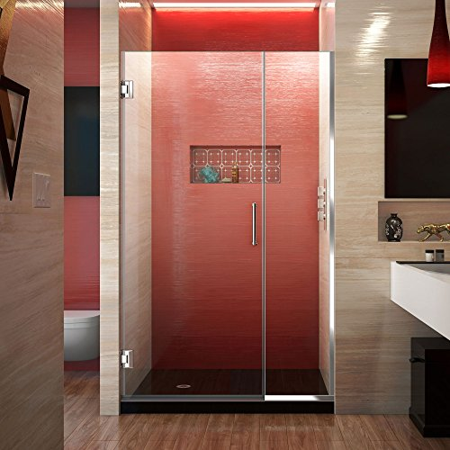 DreamLine Unidoor Plus 39 1/2-40 in. W x 72 in. H Frameless Hinged Shower Door, Clear Glass, Chrome, SHDR-243957210-01