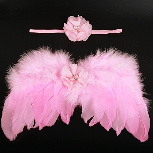 Wings Angel Chiffon Pink (Baby Photography Outfit Chiffon Flower With Pearl Elastic Headbands And Angel Feather Wings)