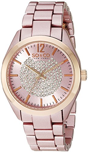 SO&CO New York Womens 5096A.4 SoHo Quartz Crystal Dial Analog Display Link Bracelet Watch Pink