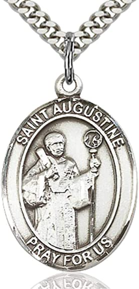 Heartland Engravable Mens Sterling Silver Saint Augustine Oval Medal Customize Choose Chain