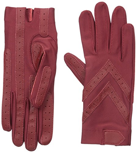 Isotoner Women's Spandex Shortie Gloves with Leather Palm Strips, Really Red, One Size