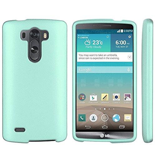- Aqua Mint Green Protective Hard Snap-On Cover Case + Atom LED Keychain Flashlight for LG G3 Vigor