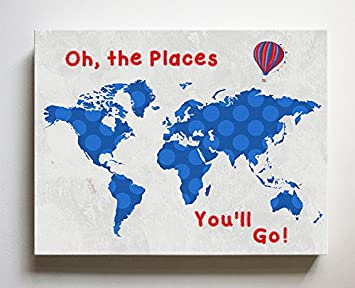 Dr Seuss, Canvas Nursery Inspirational Quote World Map, Baby Wall Art Decor,  Unique