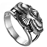 HIJONES Men's Stainless Steel Silver Black Cool Punk Flying Eagle Hawk Ring