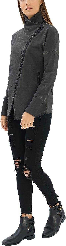 trueprodigy Casual Damen Marken Sweatjacke einfarbig Basic Oberteil Cool Stylisch Vintage Langarm Slim Fit Sweat Jacke f/ür Frauen